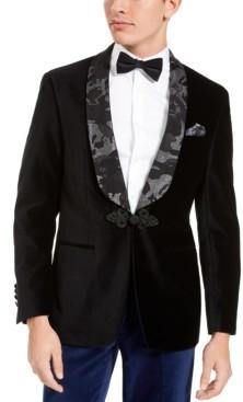 Tallia Men's Slim-Fit-fit Black Velvet Contrast Lapel Dinner Jacket