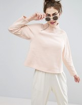 Monki Zip Funnel Neck Sweatshirt Jumper