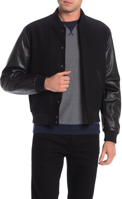 Slate & Stone Faux Leather Sleeve Wool Blend Varsity Jacket