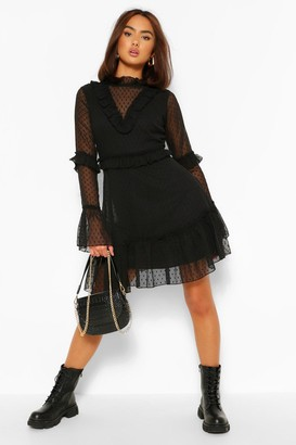 boohoo Dobby Mesh Frill Neck Detail Skater Dress