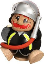 Seiffener Volkskunst eG Ball smoking figures smoking man of occupations Erzgebirge Seiffen firefighter 19022 NEW