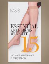 Marks and Spencer 5 Pair Pack 15 Denier Matt Knee Highs