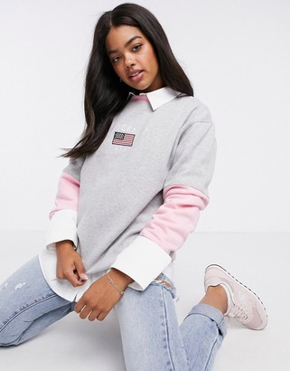 Daisy Street oversized sweatshirt with new york embroidery in colour-block