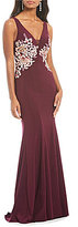 Xscape Evenings Deep V-Neck Side Embroidered Gown