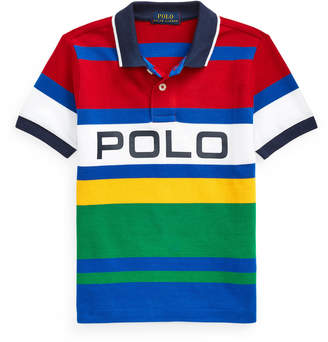 Ralph Lauren Kids Boy's Logo Colorblock Striped Polo Shirt, Size 5-7