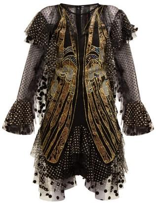 Romance Was Born Exoskeleton Embroidered-tulle Dress - Womens - Black Multi