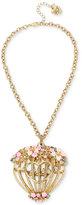 Betsey Johnson Gold-Tone Birdcage Pendant Necklace