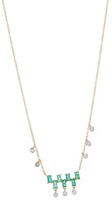 Meira T 14K Yellow Gold Emerald & Floating Diamond Necklace