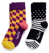 Happy Socks Cube and polka dot kids socks 2-pair pack