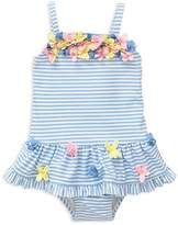 Little Me Girls' Striped Floral Skirted Swimsuit - Baby