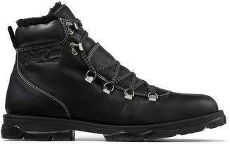 Jimmy Choo BARRA Black Vachetta Hiker Boots with Shearling Lining