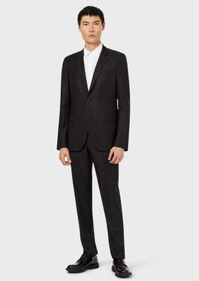 Emporio Armani Single-Breasted Suit In Pure Virgin Wool Jacquard