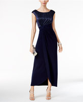 Connected Crinkled Metallic Faux-Wrap Gown