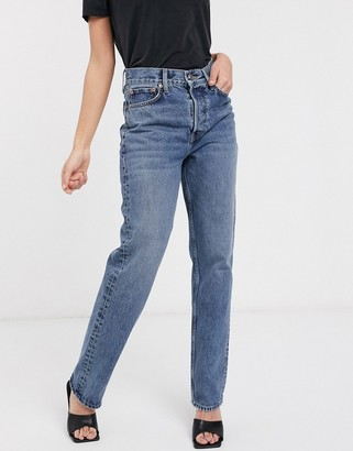 Topshop dad jeans in mid wash