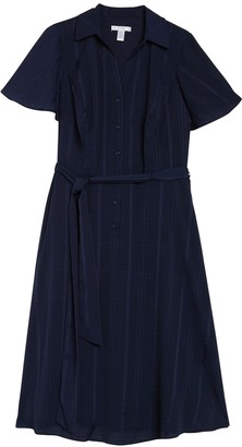 London Times Flutter Sleeve A-Line Shirt Dress (Plus Size)