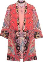 Etro Printed Silk Crepe De Chine Jacket - Coral