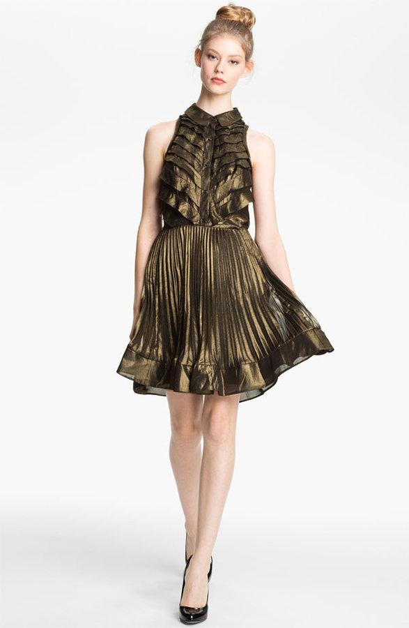 Mcginn 'Nalia' Pleated Metallic Dress