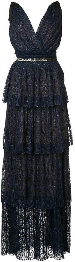Self-Portrait tiered v-neck maxi dress