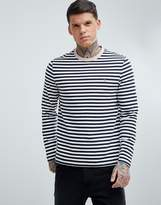 Farah Trafford Slim Fit Stripe Long Sleeve Top in Navy
