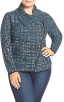 Nic+Zoe Plus Size Women's 'Dreamscape' Moto Sweater Jacket