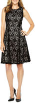 Liz Claiborne Sleeveless Flocked Lace Fit & Flare Dress
