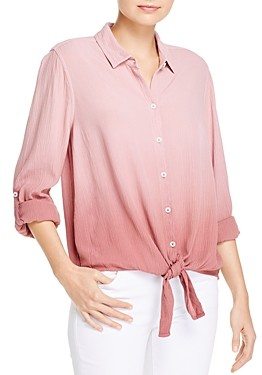 BeachLunchLounge Yumi Dip-Dyed Crinkled Tie-Front Shirt
