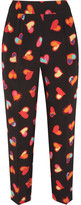Moschino Cropped Printed Silk Crepe De Chine Tapered Pants - Black