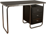 Rejuvenation Royal Chrome Desk w/ Tubular Base by Teague c1940