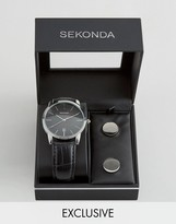 Sekonda Black Leather Watch & Cufflinks Gift Set Exclusive To ASOS
