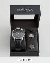 Sekonda Black Leather Watch & Cufflinks Gift Set Exclusive To Asos