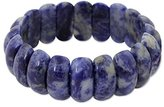 Novica Natural Sodalite Indigo Rounded Bead Stretch Cuff Band Bracelet 'Just Glow'