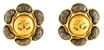 Chanel Two-Tone CC Clip-On Earrings