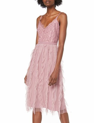 Little Mistress Women's Edna Blush Lace Top Midi Dress With Frill Party