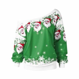 Naihen Women Christmas T-Shirt Casual Ladies Santa Printed Xmas Sweatshirt Pullover Jumper Blouse Top Long Sleeve Srew Collar Xmas Party Evening Prom Clothing Green