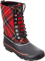 Burberry Lace Up Tartan Wool & Rubber Rain Boot