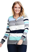 Lands' End Women's Plus Size Supima Cotton Cardigan Sweater-Sterling Heather Multi Stripe