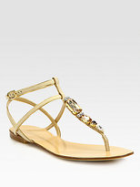 Dolce & Gabbana Jeweled Lizard-Stamped Leather T-Strap Sandals