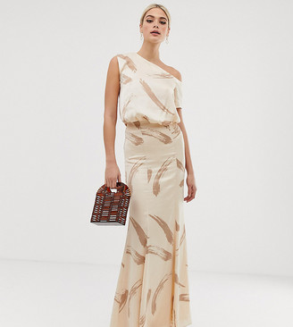 Asos Tall DESIGN Tall one shoulder satin drape maxi dress in brush stroke print-Beige