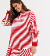 Asos DESIGN Curve ruffle sweat mini dress in red and white stripe