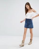 Abercrombie & Fitch Lace Up Denim Mini Skirt