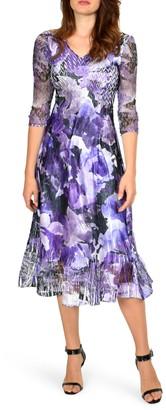 Komarov Floral Chiffon & Charmeuse Dress