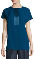 Lafayette 148 New York Azalea Short-Sleeve Half-Placket Silk Blouse, Aegean
