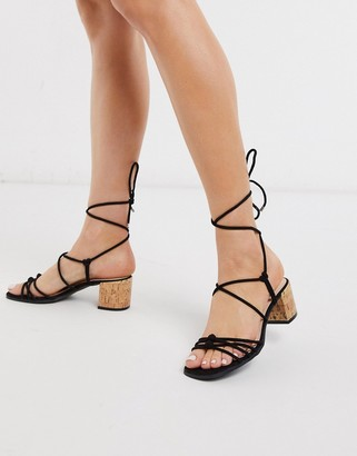 Qupid strappy tie leg mid heel sandals