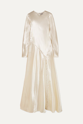 Philosophy di Lorenzo Serafini Lace-trimmed Hammered-satin Gown - Ivory