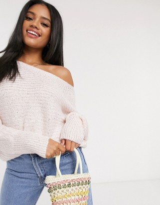 Lipsy sequin batwing jumper in pink