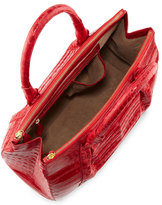 Nancy Gonzalez Large Double-Zip Crocodile Satchel Bag, Red