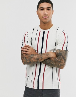 Jack and Jones Originals vertical striped t-shirt in white