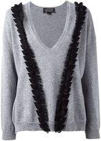 Giambattista Valli v-neck ruffled detailing jumper