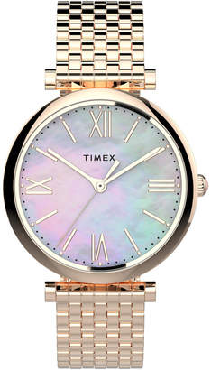 Timex Boutique Women Dress Rose Gold-Tone Bracelet Watch 35mm