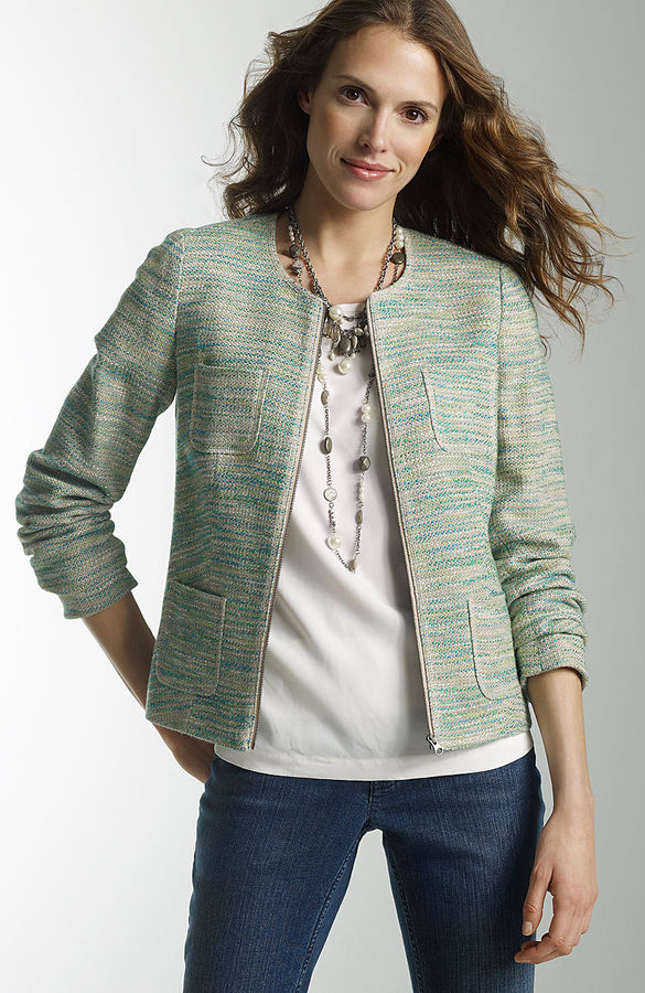 J. Jill Jewel-neck tweed jacket